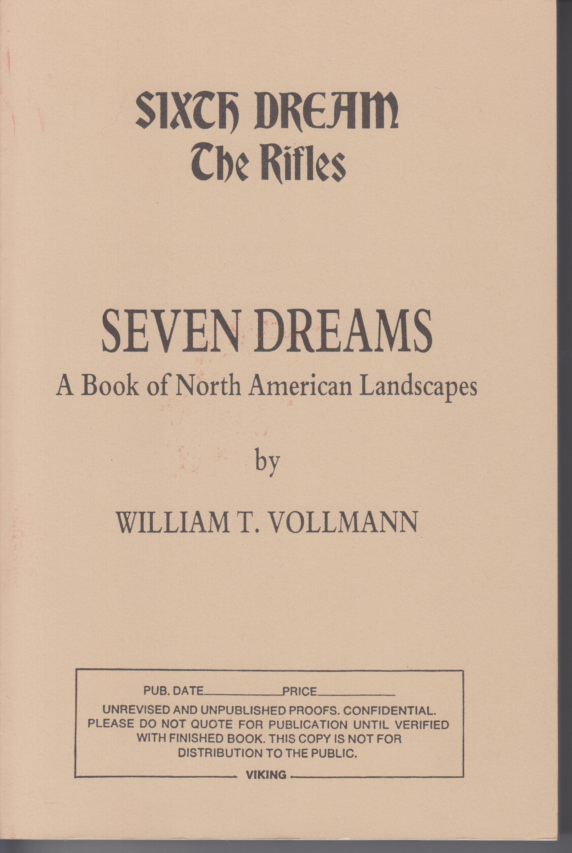 Image for The Rifles (Sixth Dream of Seven Dreams. a Book of the North American Landscapes