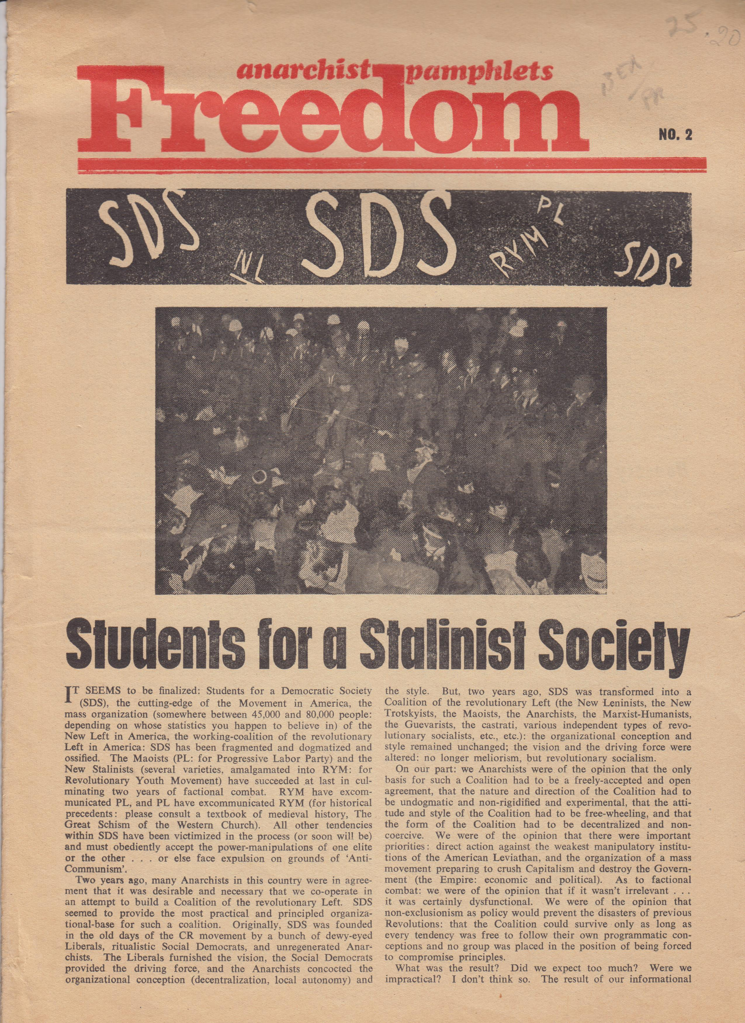 "Image for Freedom Pamphlet No. 2 ""Students for a Stalinist Society"""