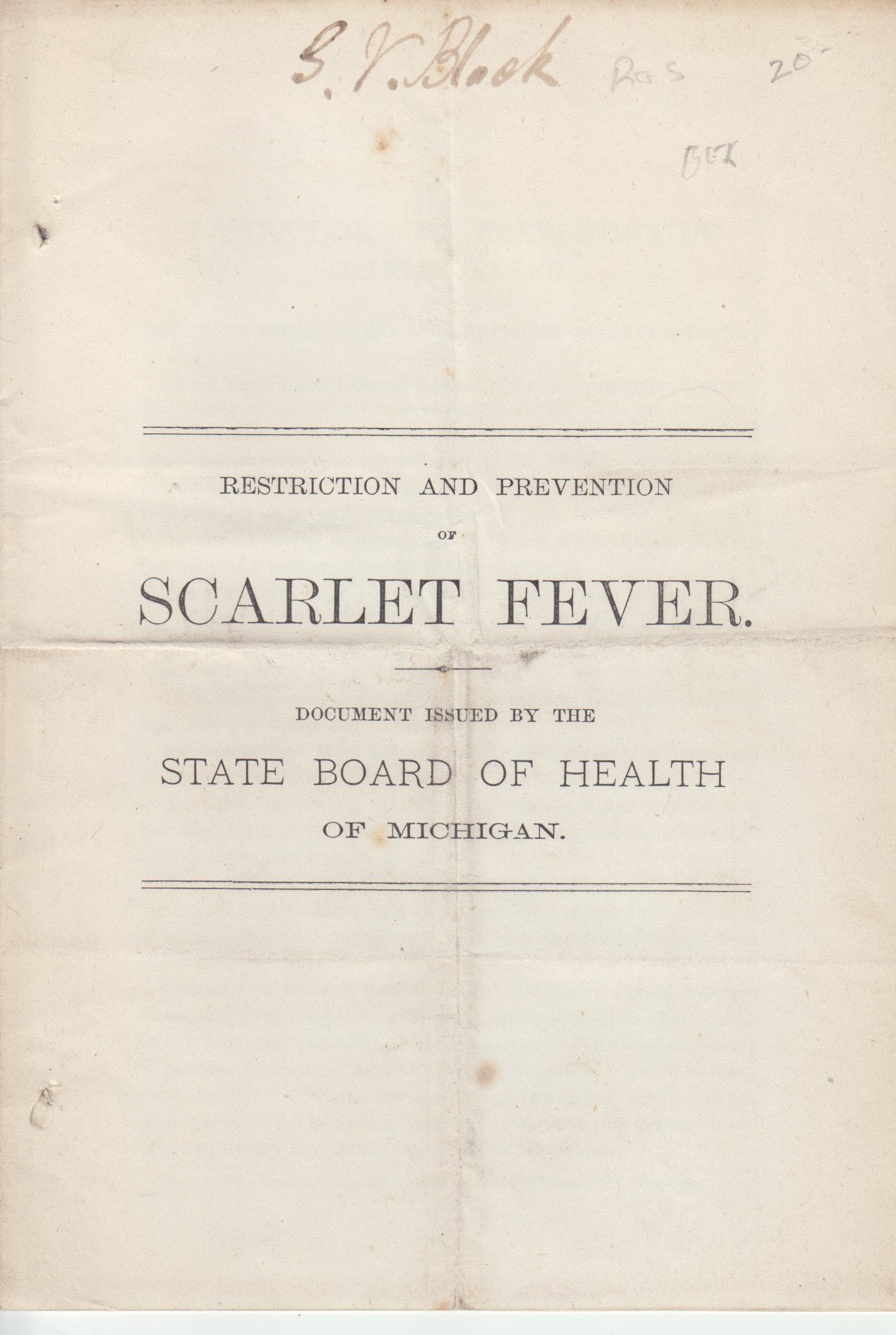 Image for Restrictions and Prevention of Scarlet Fever