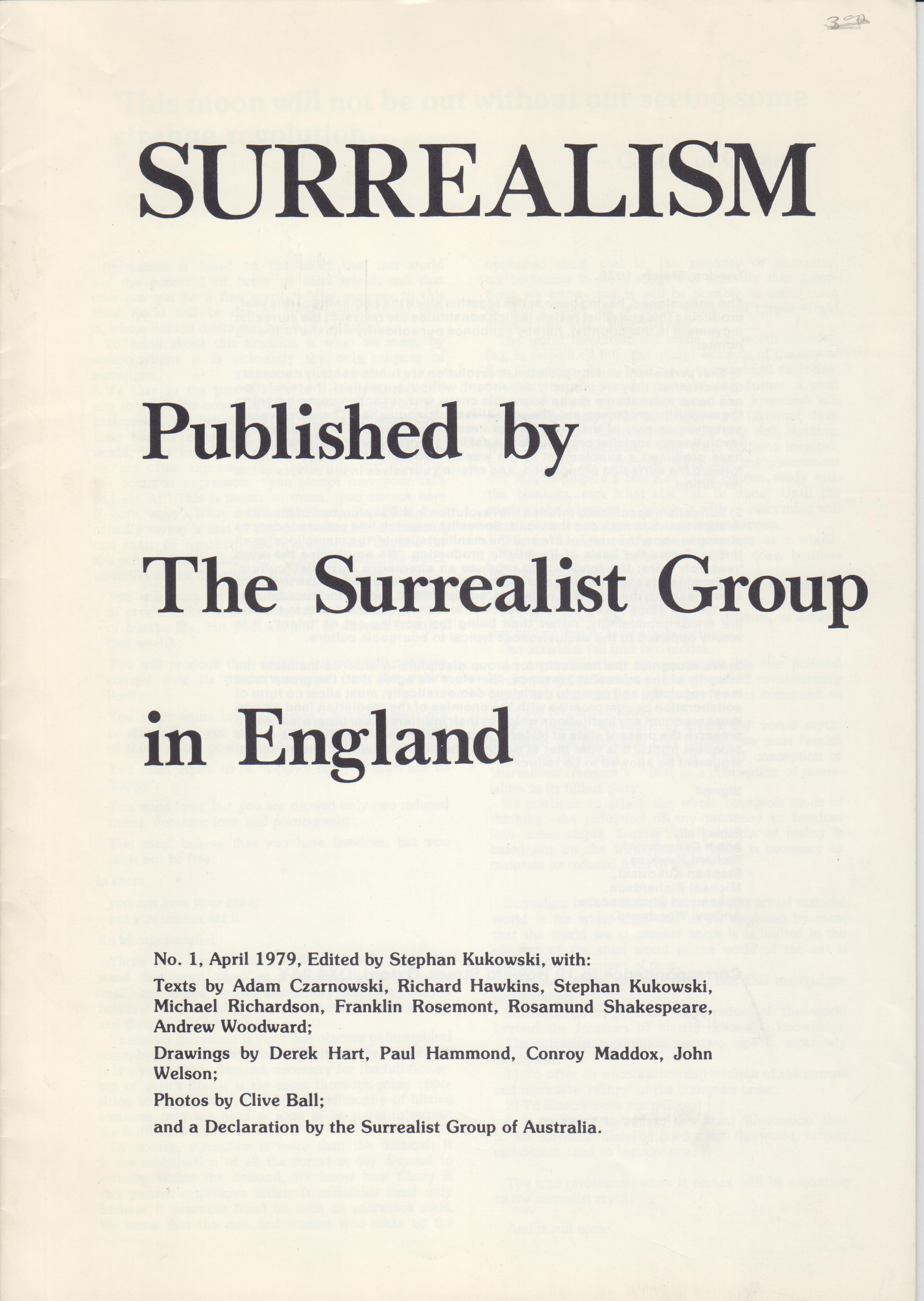 Image for Surrealism: Published by The Surrealist Group in England No 1 (April 1979)