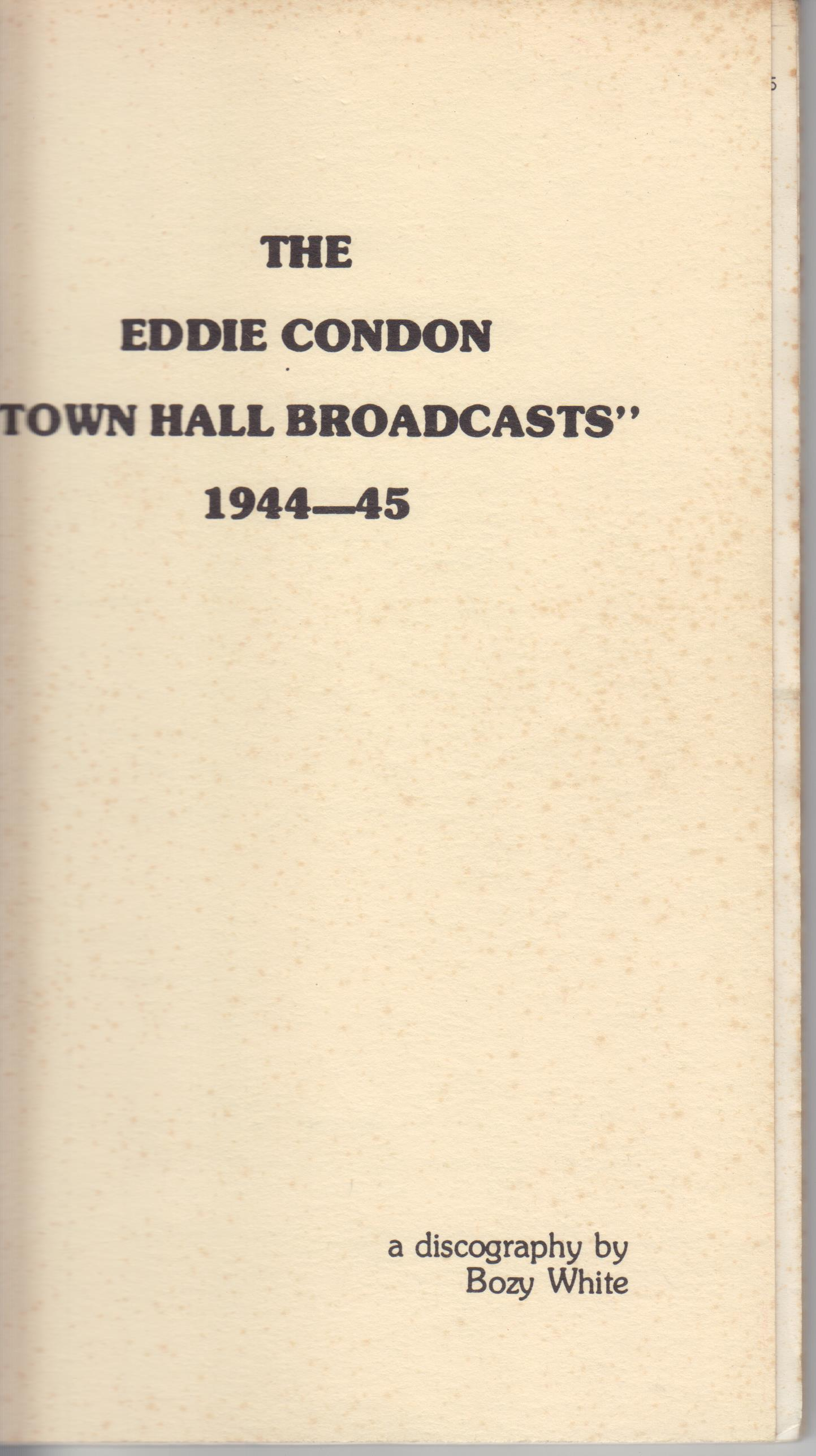 "Image for The Eddie Condon ""Town Hall Broadcasts"" 1944-45"