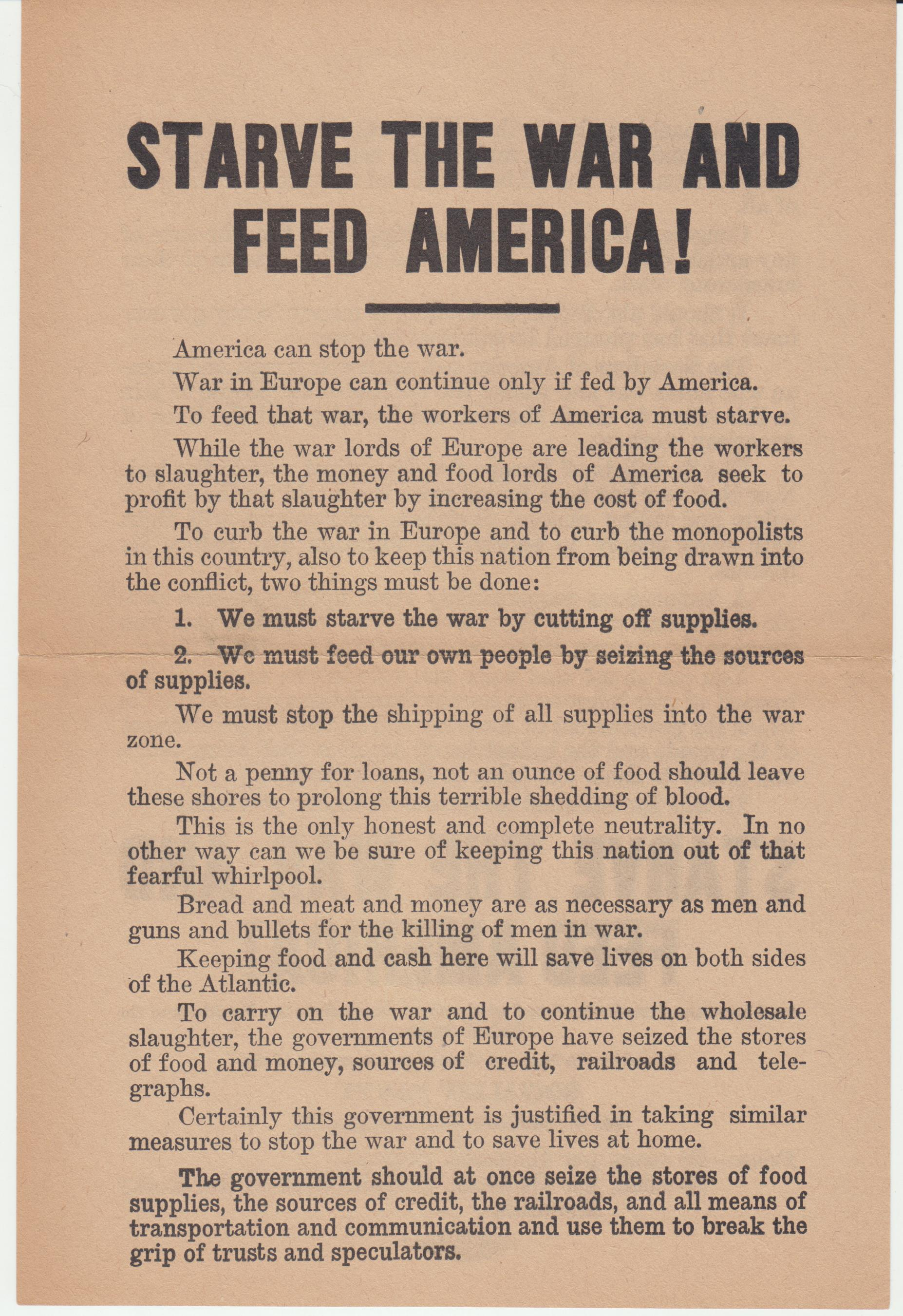 Image for Starve The War And Feed America!
