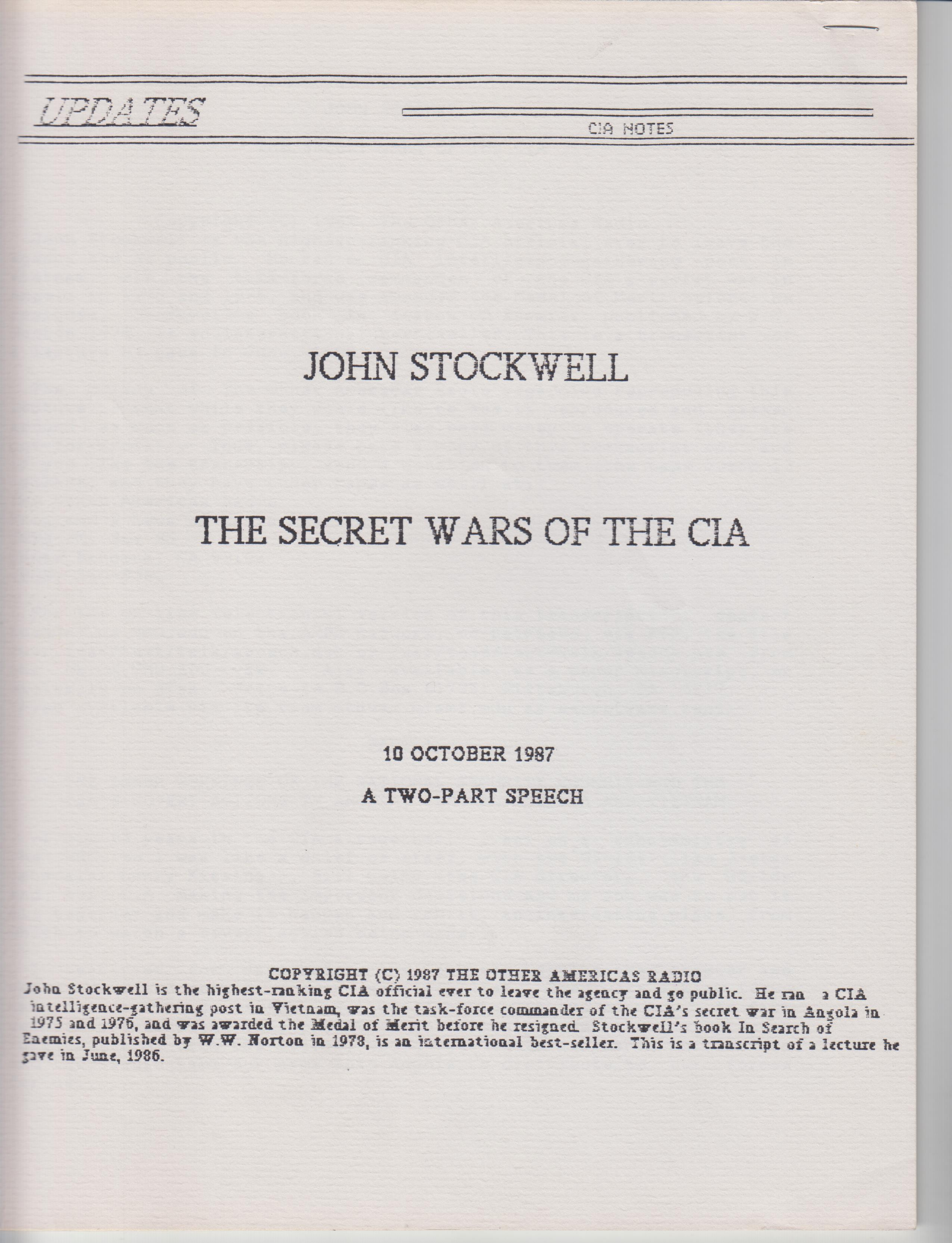 Image for The Secret Wars of the CIA. 10 October 1987, A Two-Part Speech