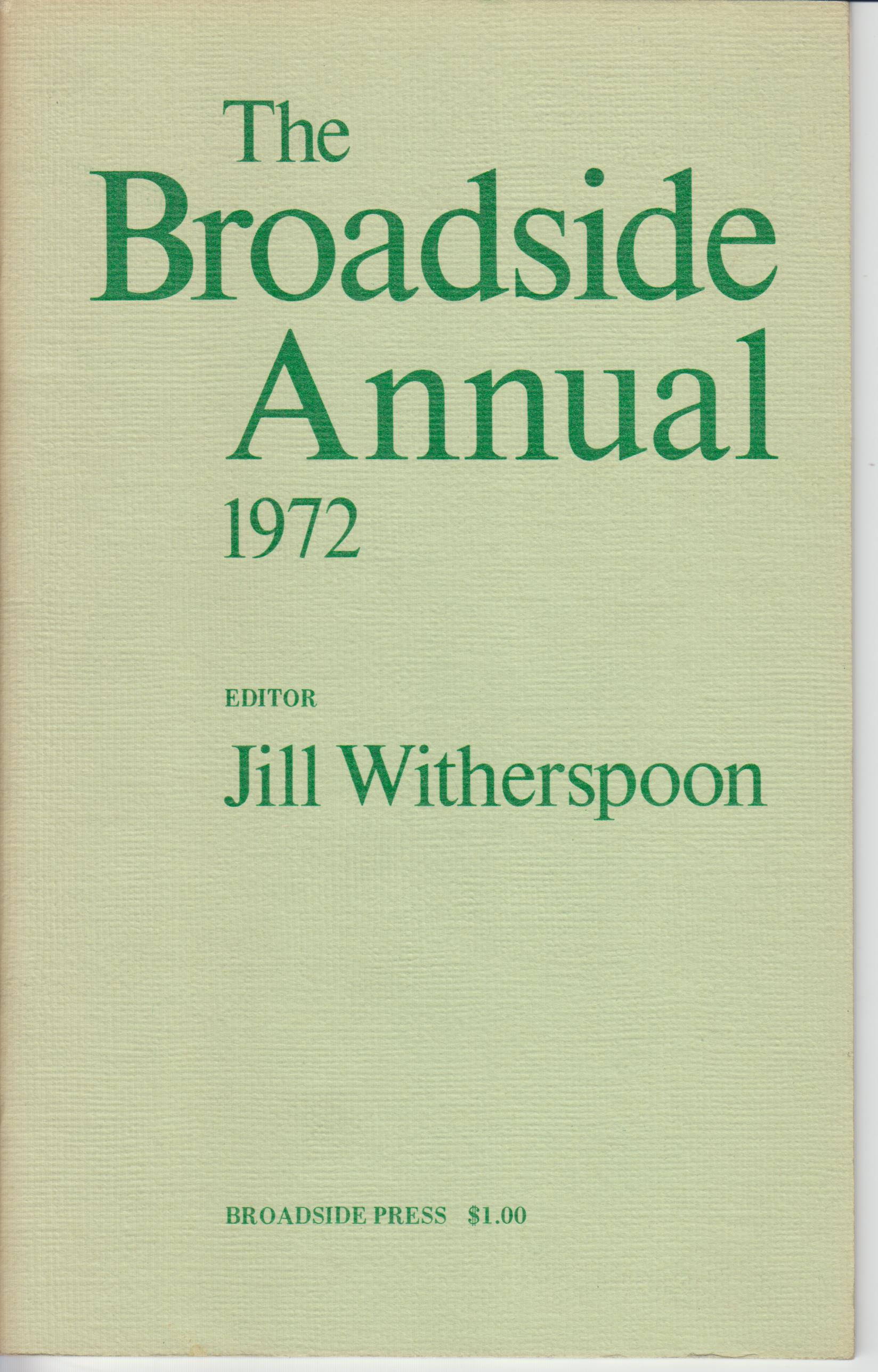 Image for The Broadside Annual,1972. Introducing New Black Poets