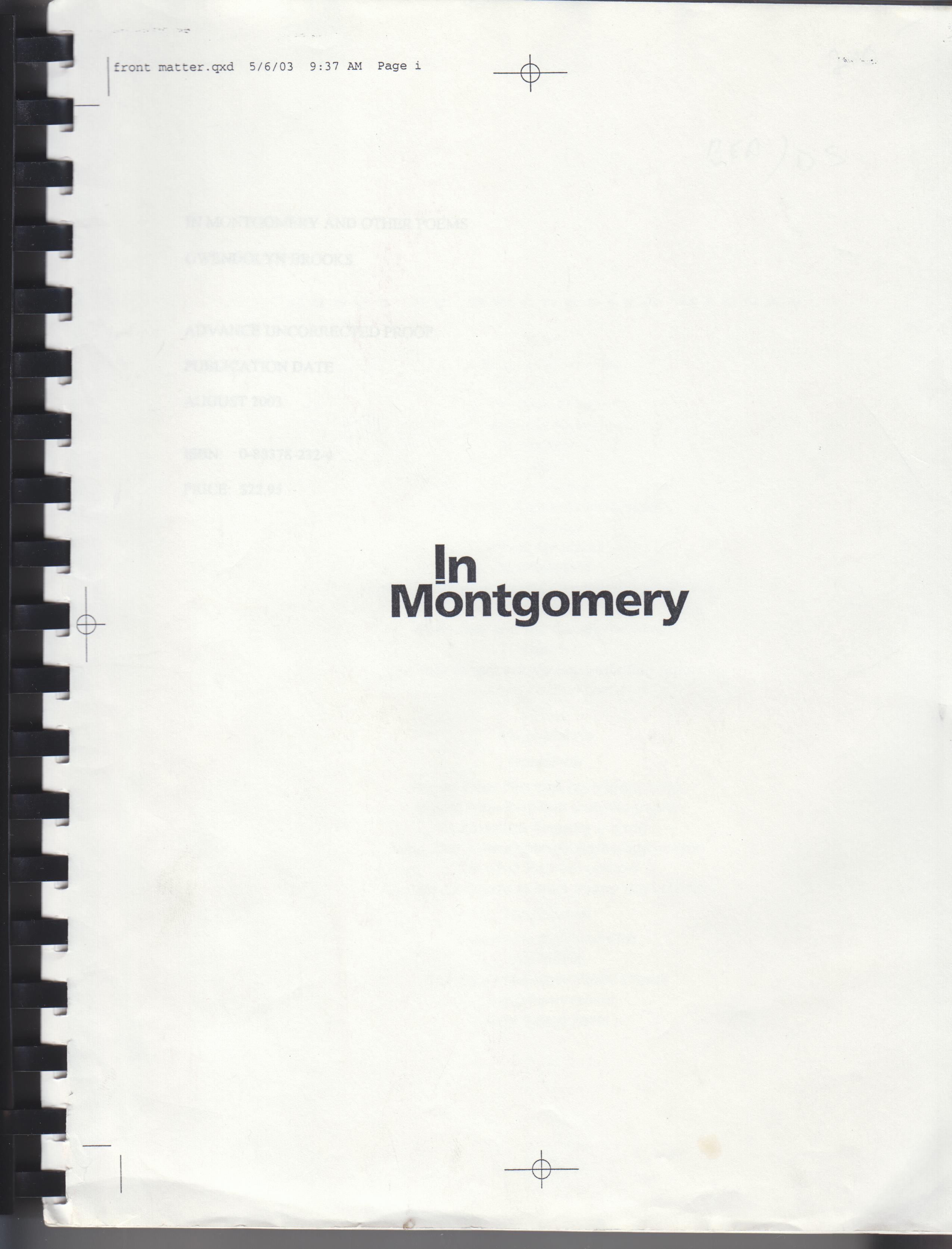 Image for In Montgomery