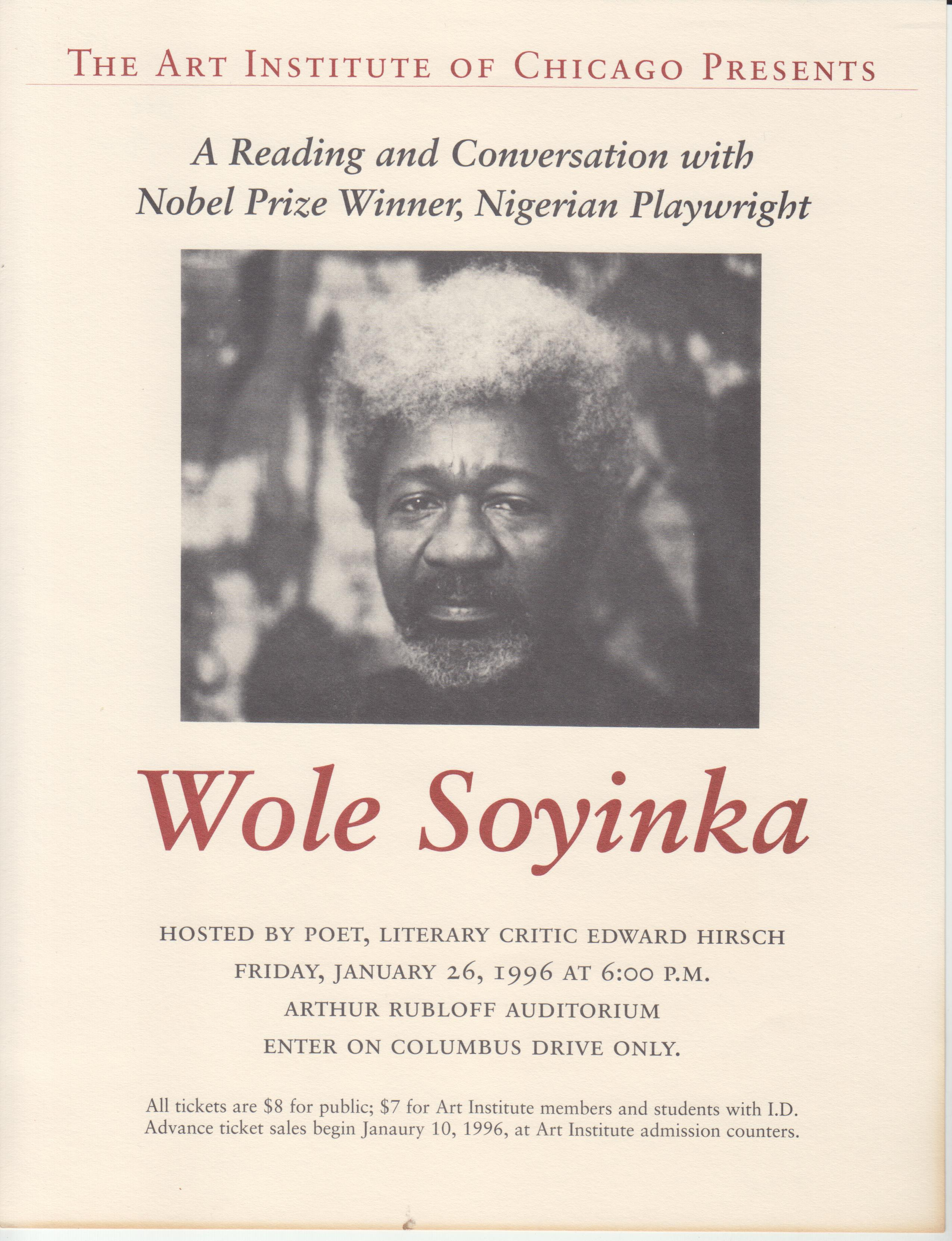 Image for Leaflet / Poster The Art Institute of Chicago Presents A Reading and Conversation with Nobel Prize Winner, Nigerian Playwright Wole Soyinka... January 26, 1996.....
