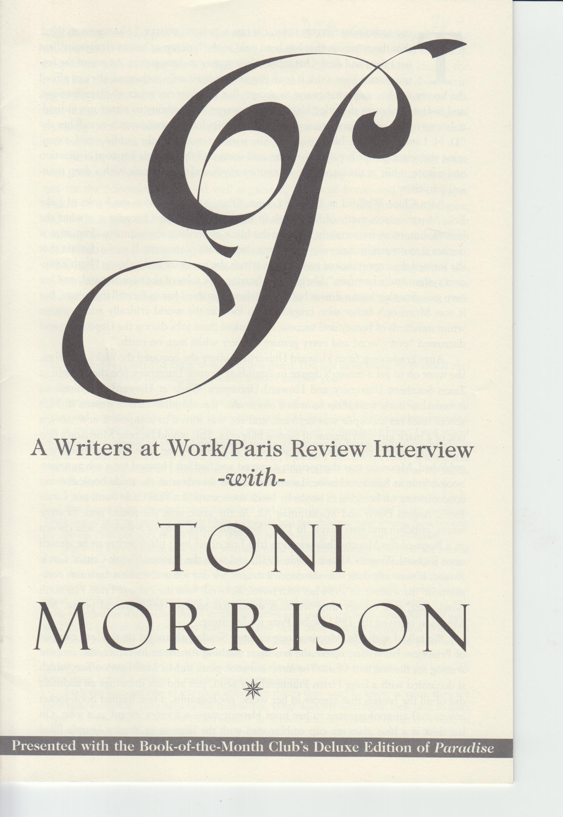 Image for A Writers at Work / Paris Review Interview with Toni Morrison