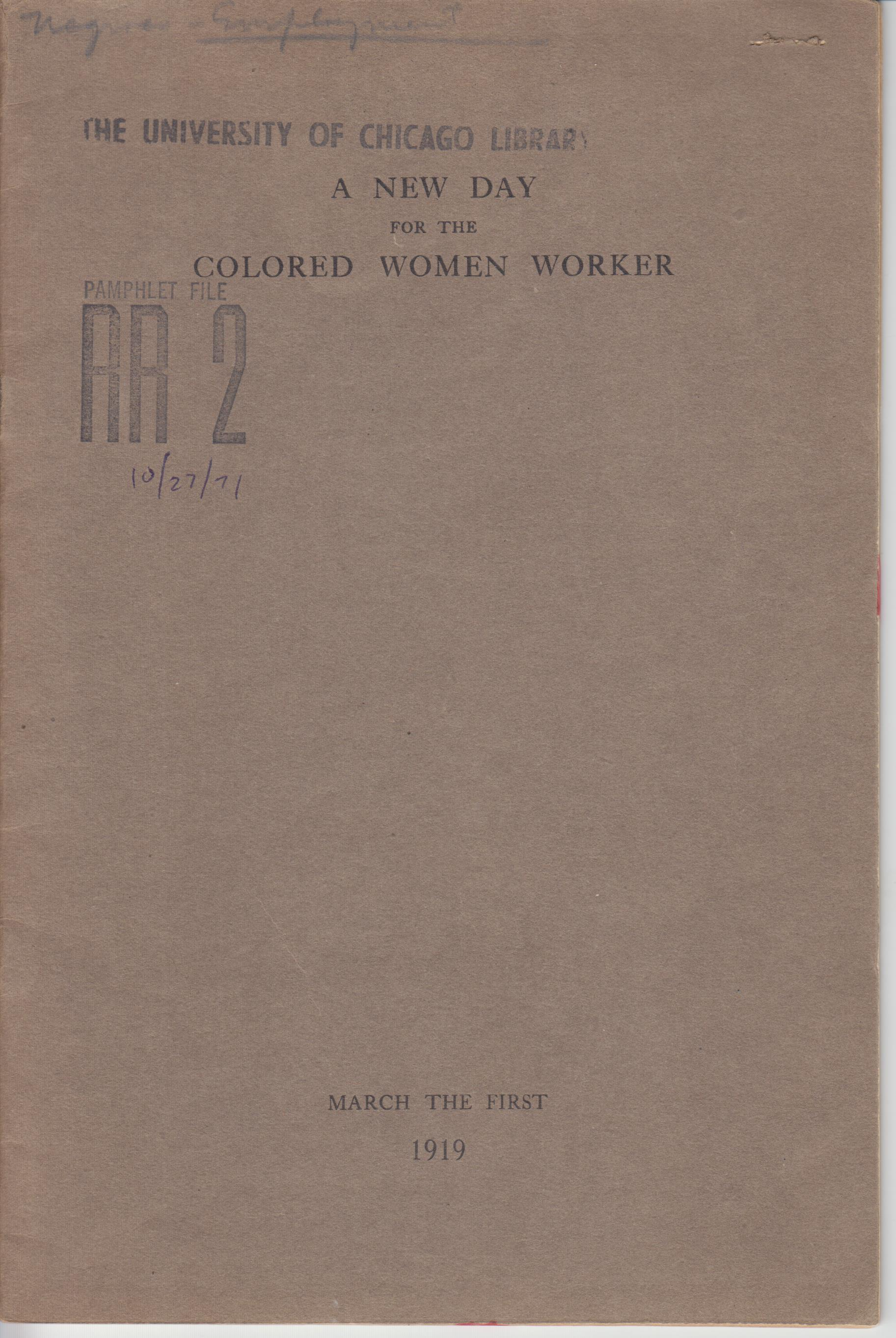 Image for A New Day for the Colored Woman Worker. A Study of Colored the Colored Women in Industry in New York City