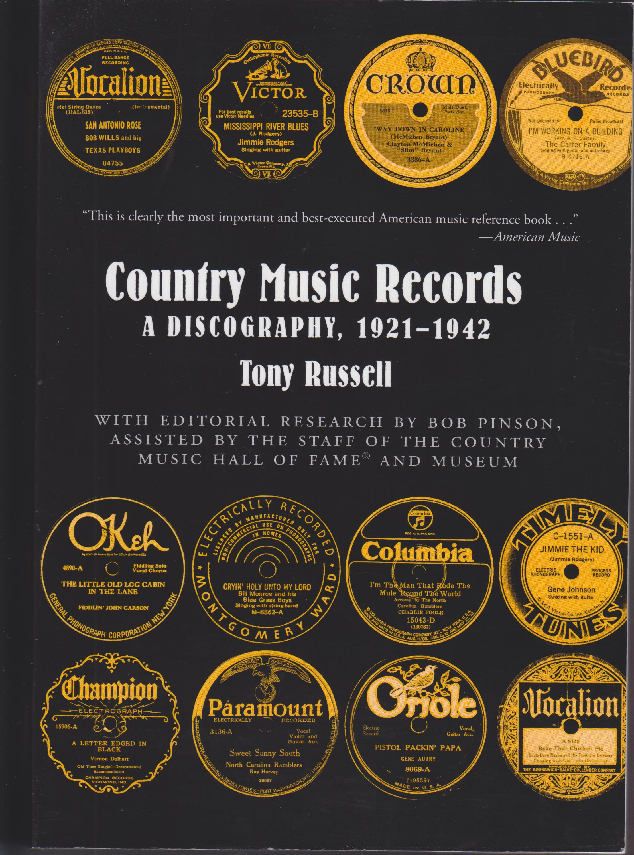 Image for Country Music Records. a Discography, 1921-1942