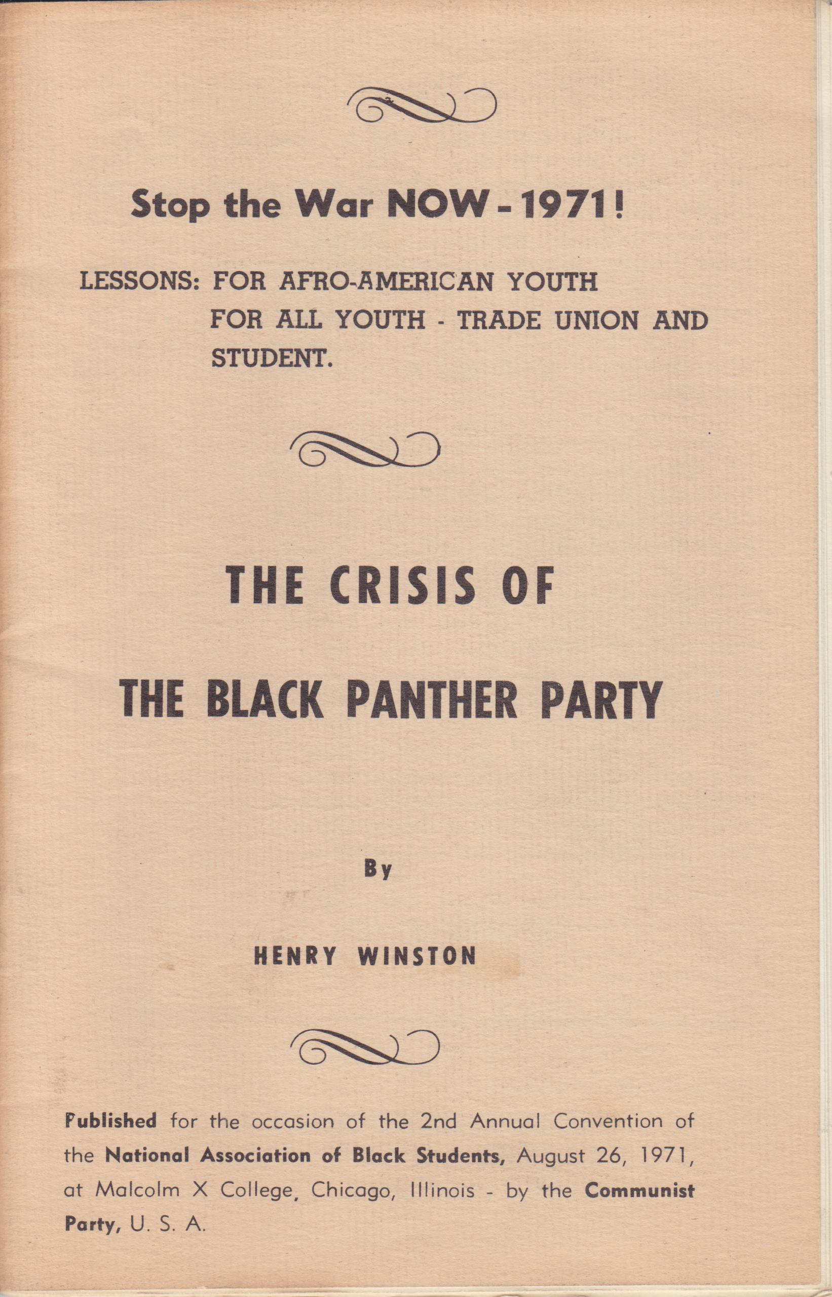 Image for The Crisis of the Black Panther Party