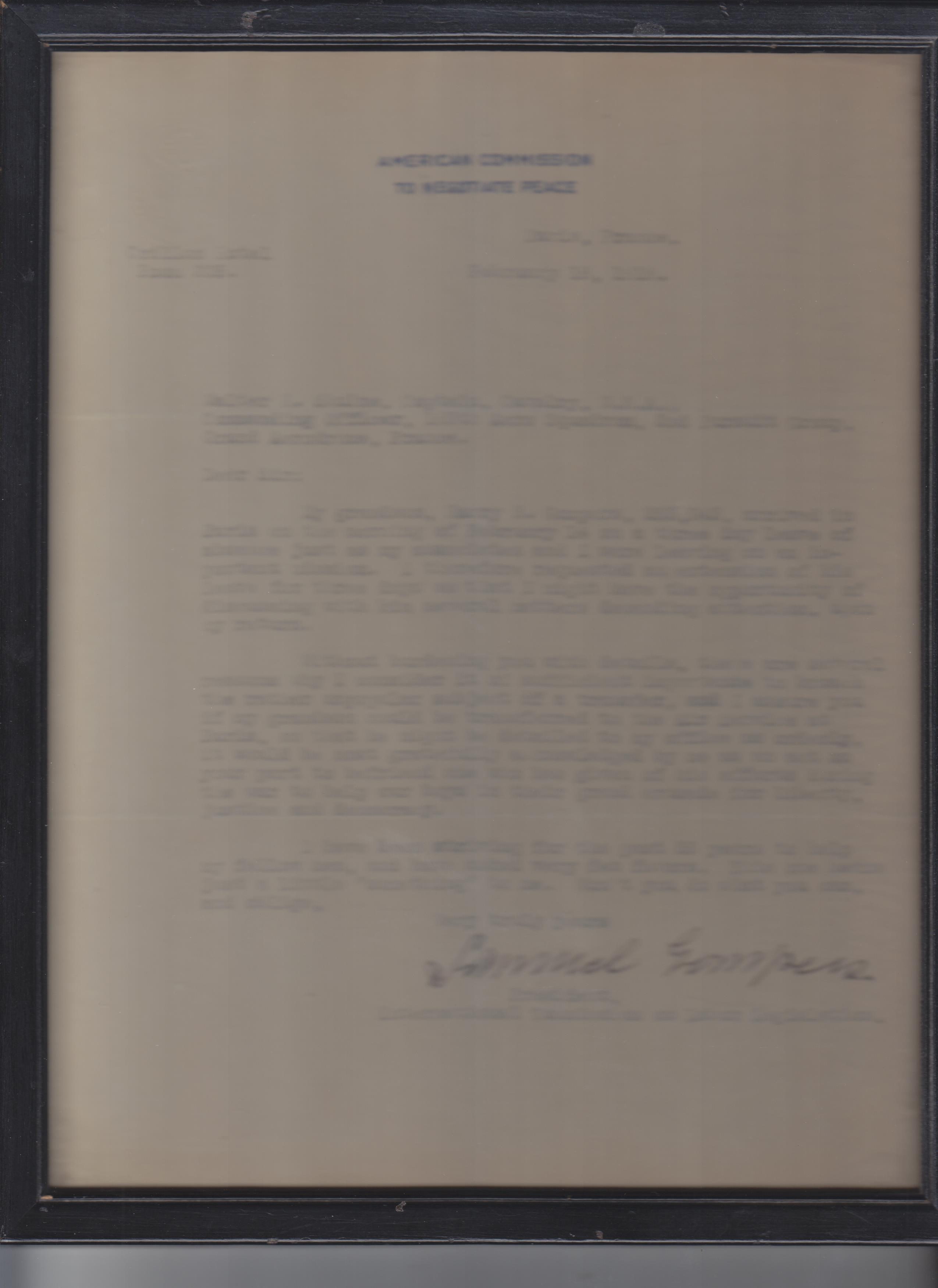 Image for Typed Letter, Signed, On American Commission To Negotiate Peace Stationery