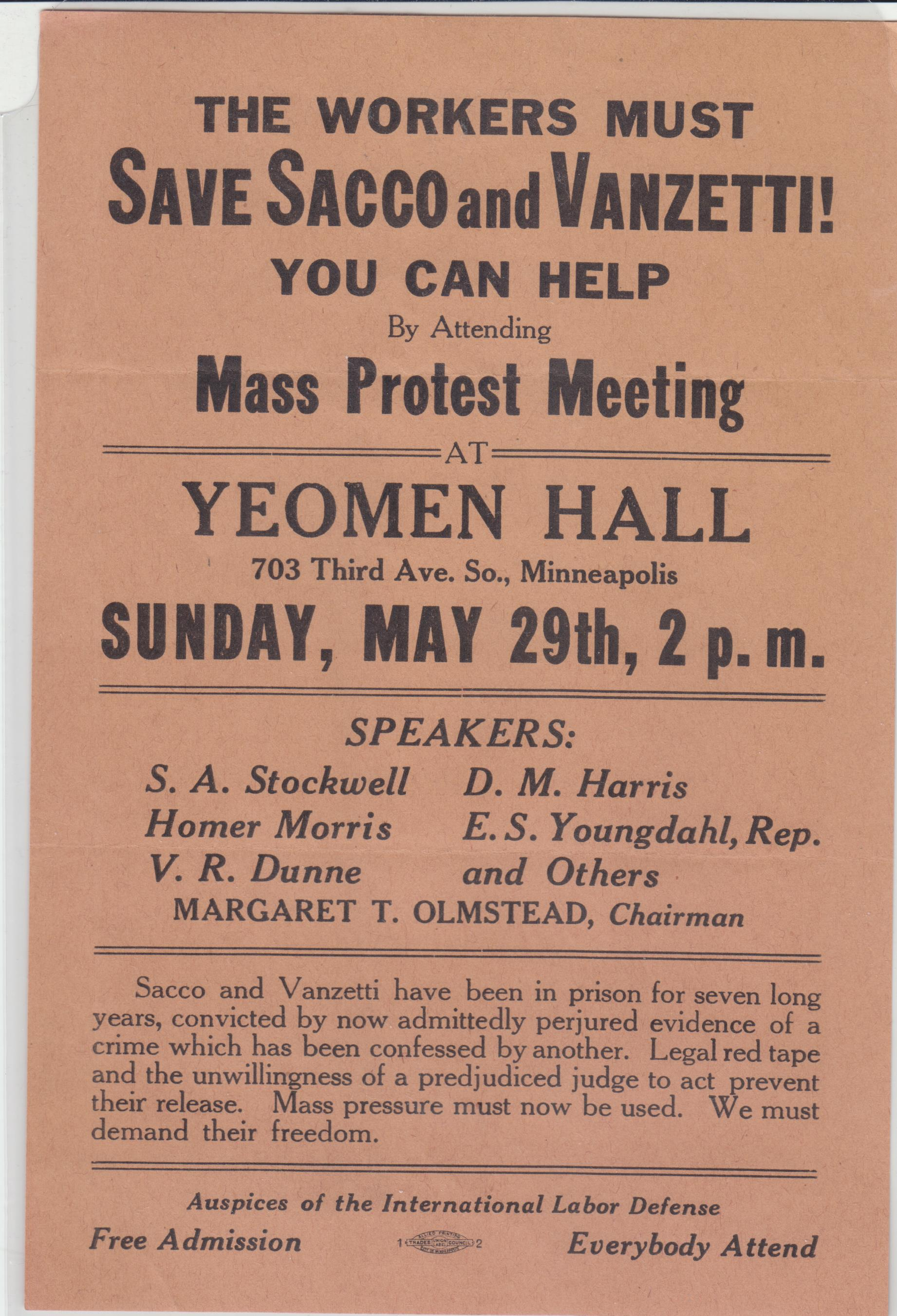 Image for The Workers Must Save Sacco and Vanzetti. You Can Help by Attending Mass Protest Meeting