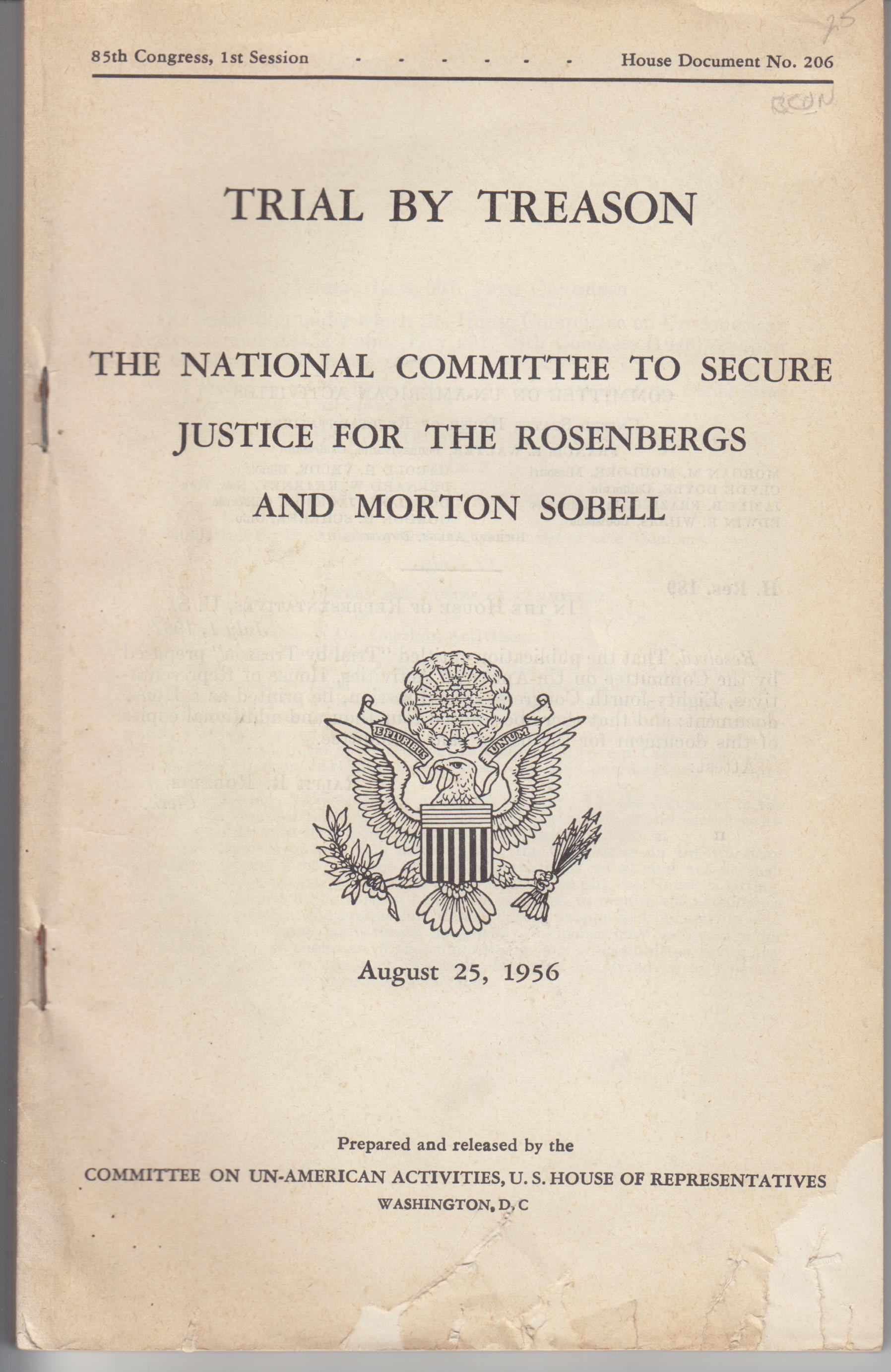 Image for Trial By Treason. The National Committee to Secure Justice for the Rosenbergs and Morton Sobell, August 2 6, 1956