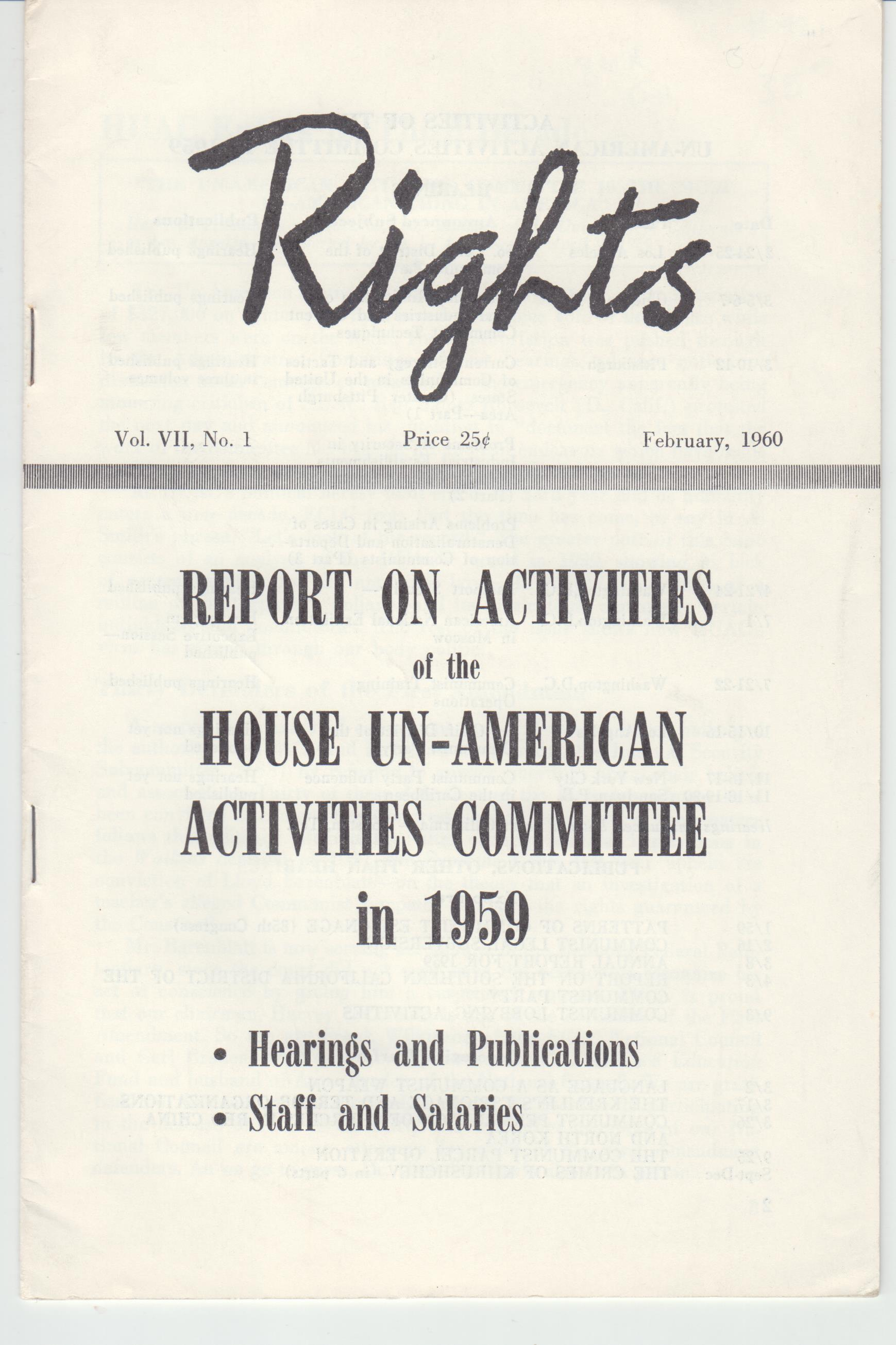 Image for Rights. Report on Activities of the House U-American Activities Committee, 1959  Volume VII, No. 1 (February, 1960)