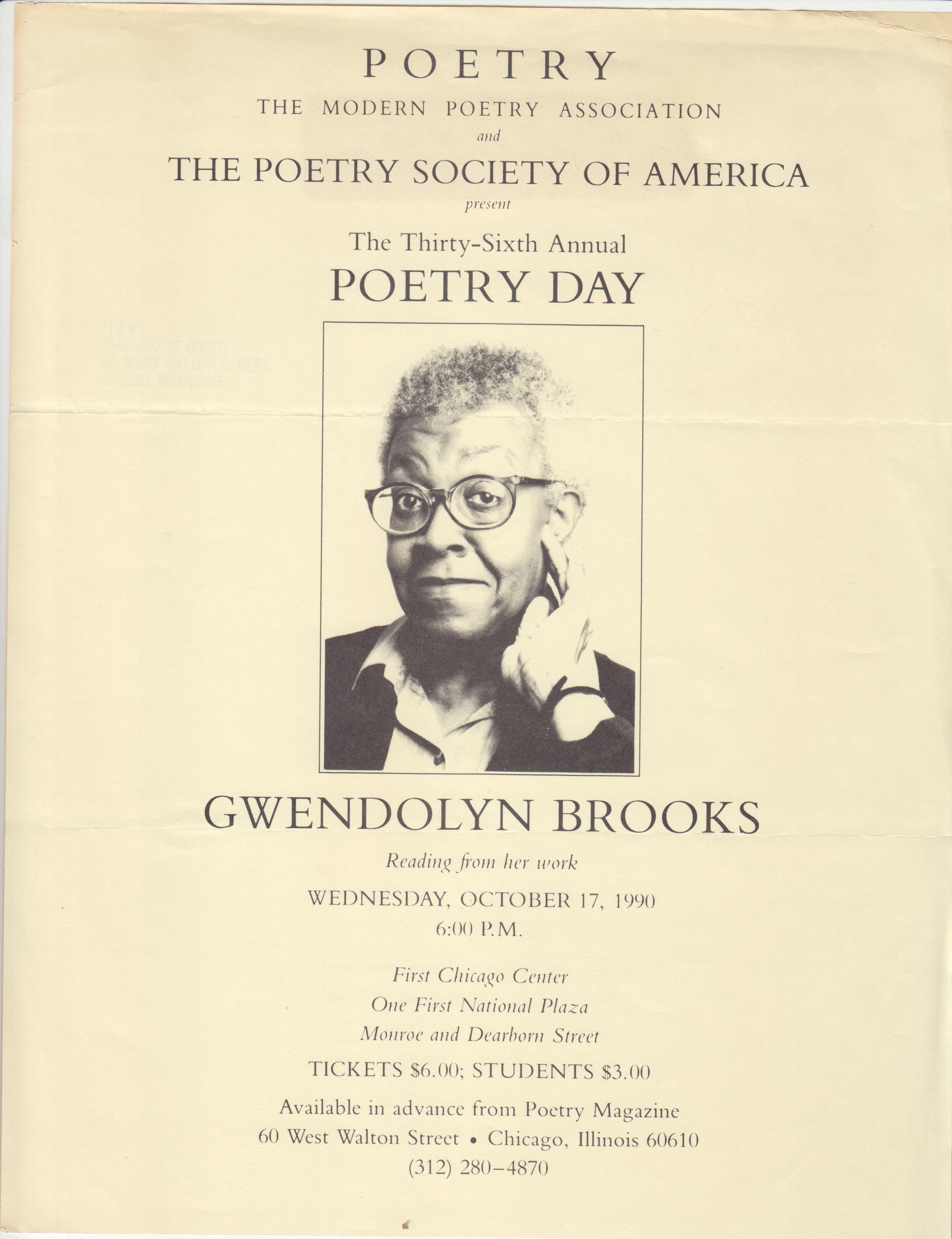 Image for Poetry the Modern Poetry Association and the Poetry Society of America Present the Thirty-Sixth Annual Poetry Day. Gwendolyn Brooks Reading from Her Work...October 17, 1990....