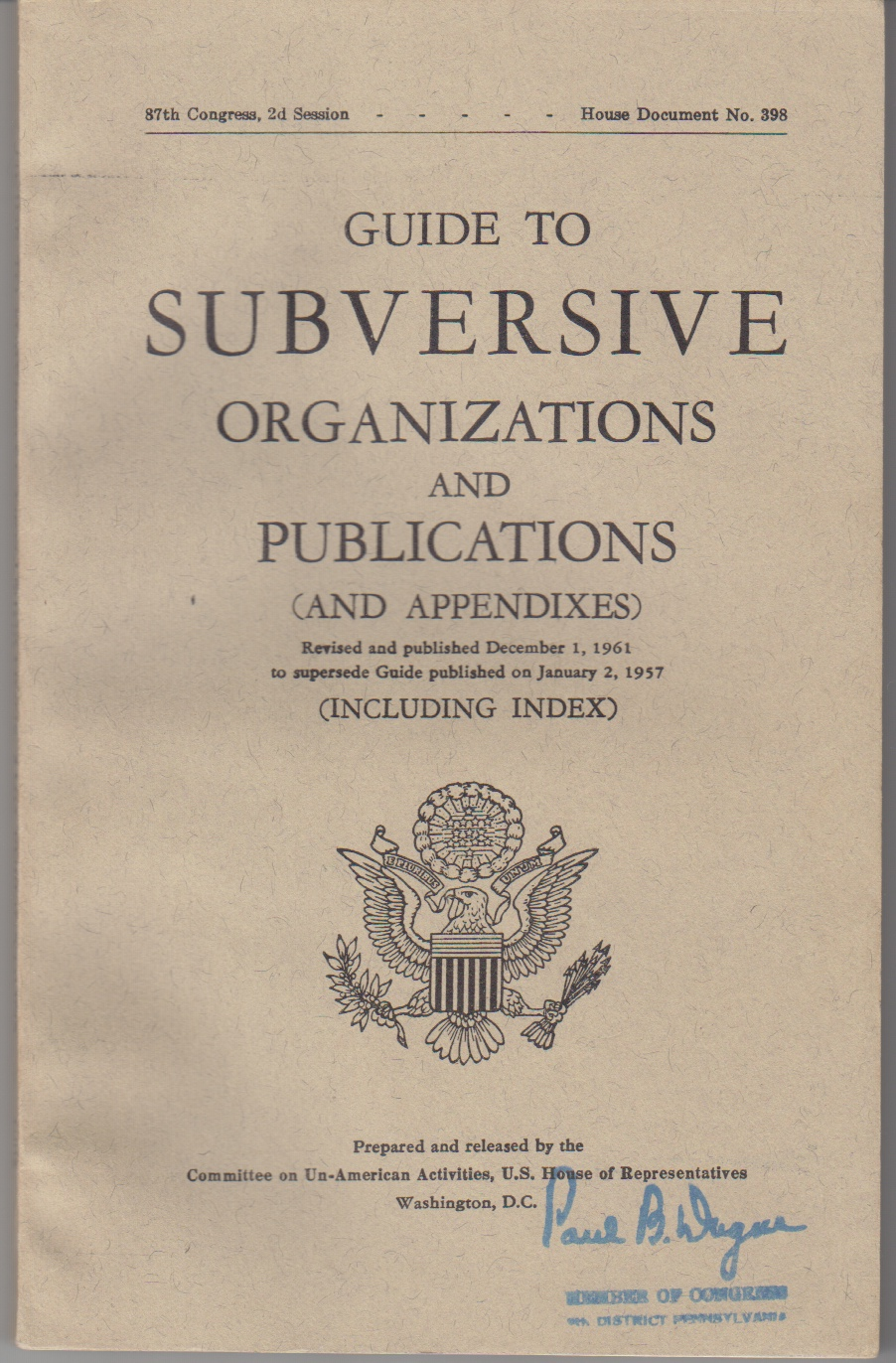 Image for Guide to Subversive Organizations and Publications (and Appendixes) Revised and Published December 1, 1961, to Supersede Guide Published on January 2, 957 (Including Index)