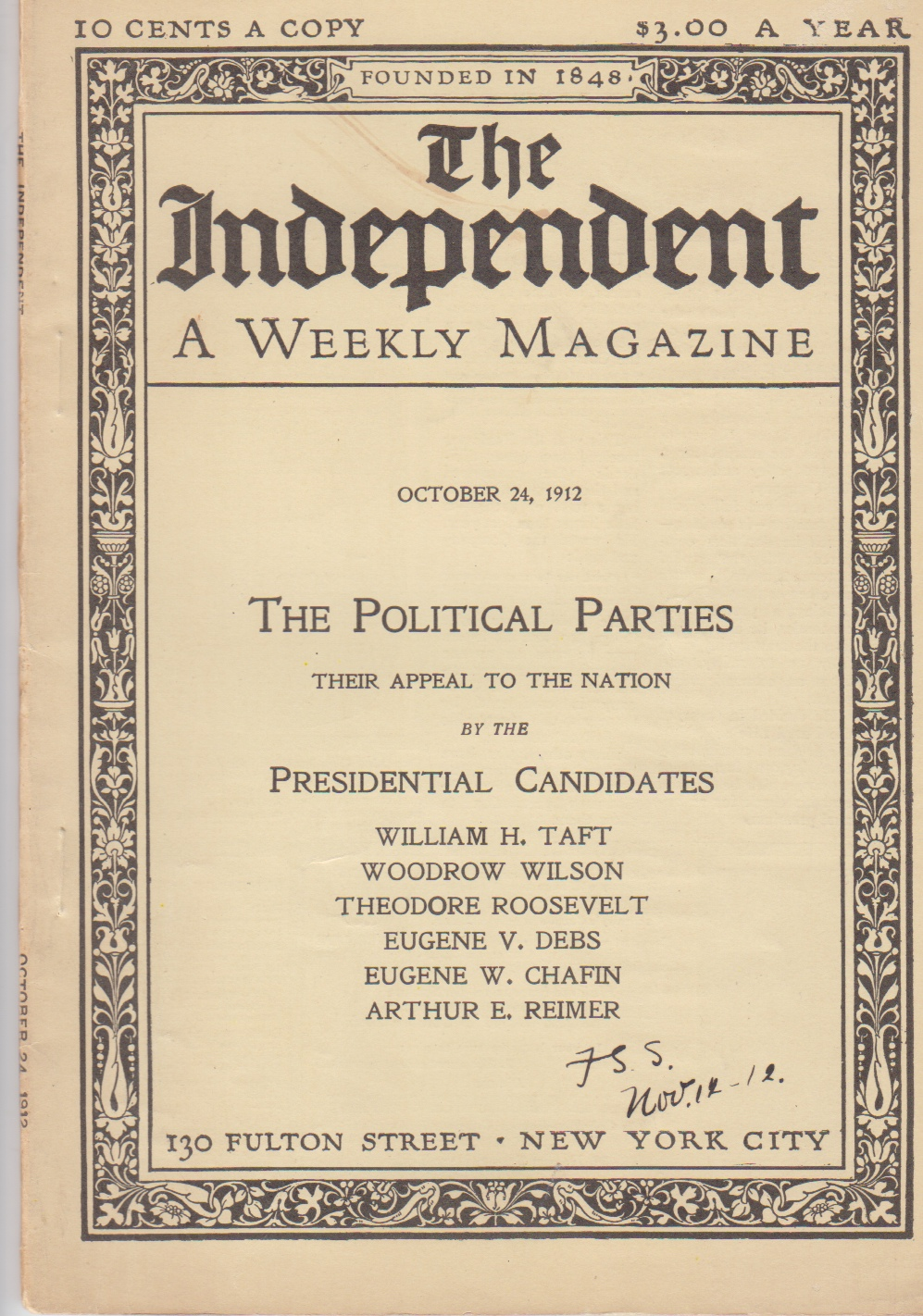 "Image for ""The Socialist Party's Appeal"" in The Independent, A Weekly Magazine (October, 1908) [and] (October 24, 1912) [two issues]]"